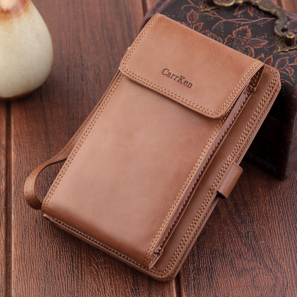 New mobile wallet multifunctional handbag with zipper button mens portable imitation leather large capacity wallet fashion