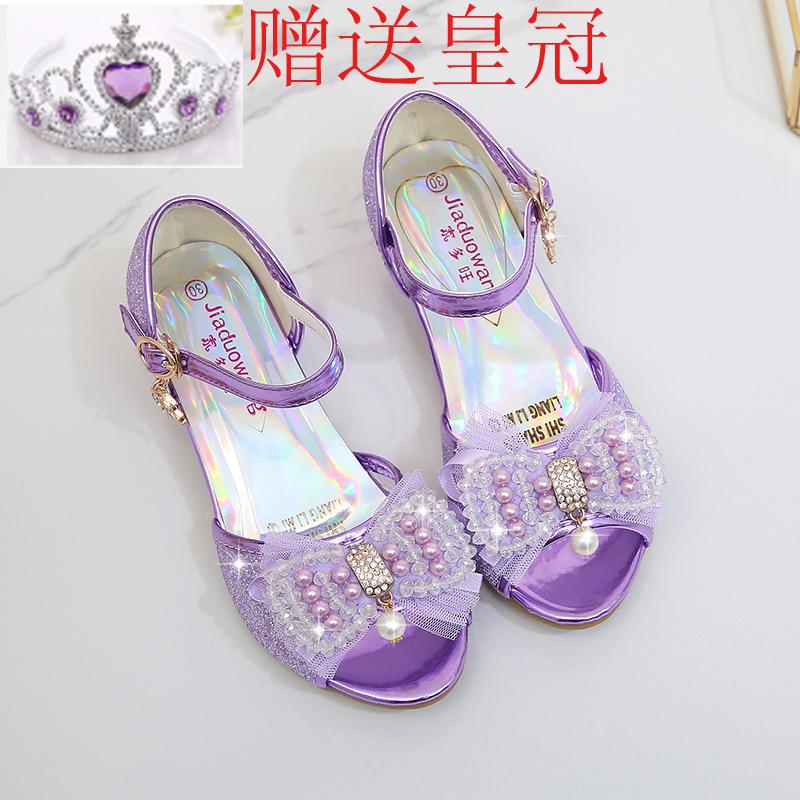 女童高跟凉鞋2019新款夏秊冰雪奇缘水晶鞋韩版中大儿童公主鱼嘴鞋