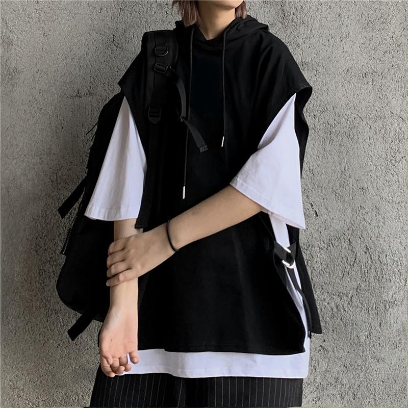 2020新款夏季韩版ins百搭黑白假两件连帽上衣宽松学生短袖T恤女潮