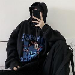 卫衣女2020秋装新款韩版ins黑色卡通印花bf风宽松连帽加绒上衣潮