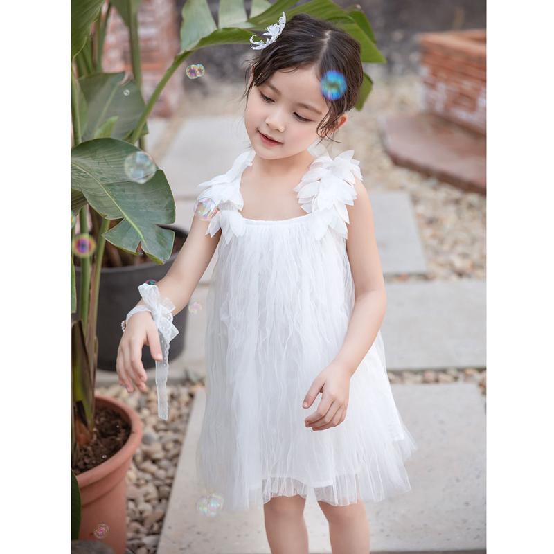 女童连衣裙夏装2020新款韩版儿童中童纯色羽毛公主裙童装裙子仙