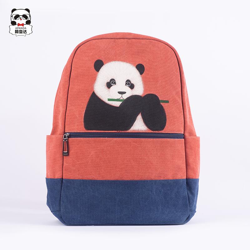 创意手绘熊猫拼接撞色时尚双肩书包