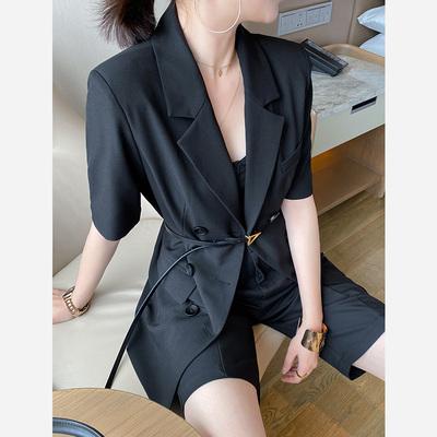 2021新款夏季黑色短袖小西装女通勤休闲显瘦中长款简约西服外套潮