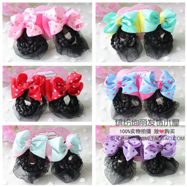 Korean version of childrens hair accessories headdress girls baby dancing net pocket with wig hairpin hairnet