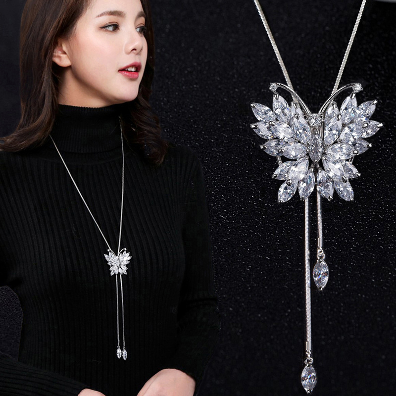 Butterfly sweater chain long womens autumn and winter versatile new simple and atmospheric Korean tassel clothing accessories necklace pendant