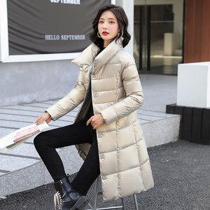 2021新款时尚冬季高领羽绒棉服女中长款亮面免洗修身薄款棉衣外套