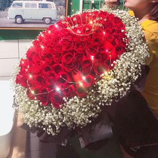99朵玫瑰花鲜花速递同城配送上海花店送花表白爱人生日玫瑰花束
