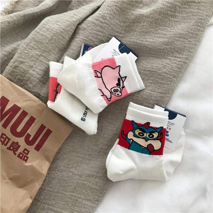 韩国进口蜡笔小新小白卡通袜子女夏中筒袜卡通可爱学生堆堆袜日系(非品牌)