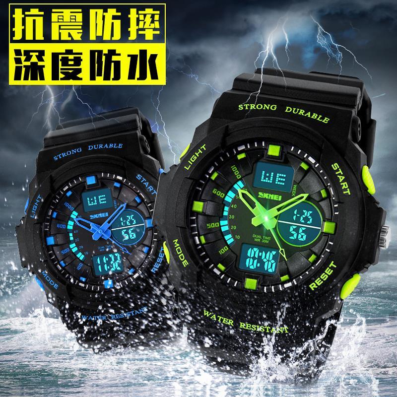 潜水运动手表双显多功能防水男装女装学生机芯户外登山电子表时尚