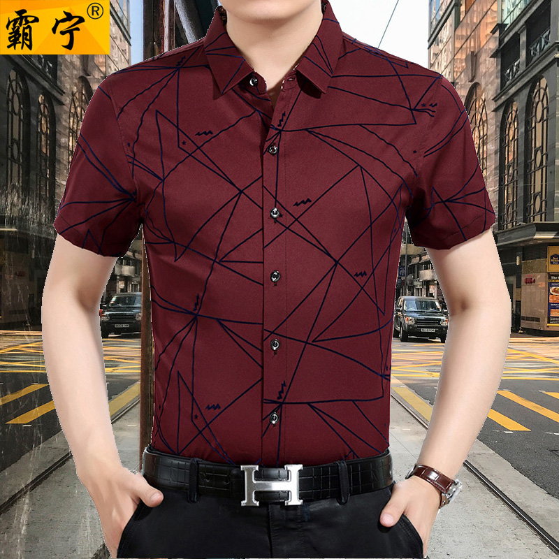 Buning 2018 new launch 30-50 years old mens geometric pattern short sleeve flower shirt summer thin top