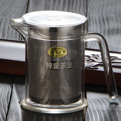 梓童红茶泡茶杯不锈钢过滤加厚玻璃泡茶器耐高温绿茶茶具冲茶器