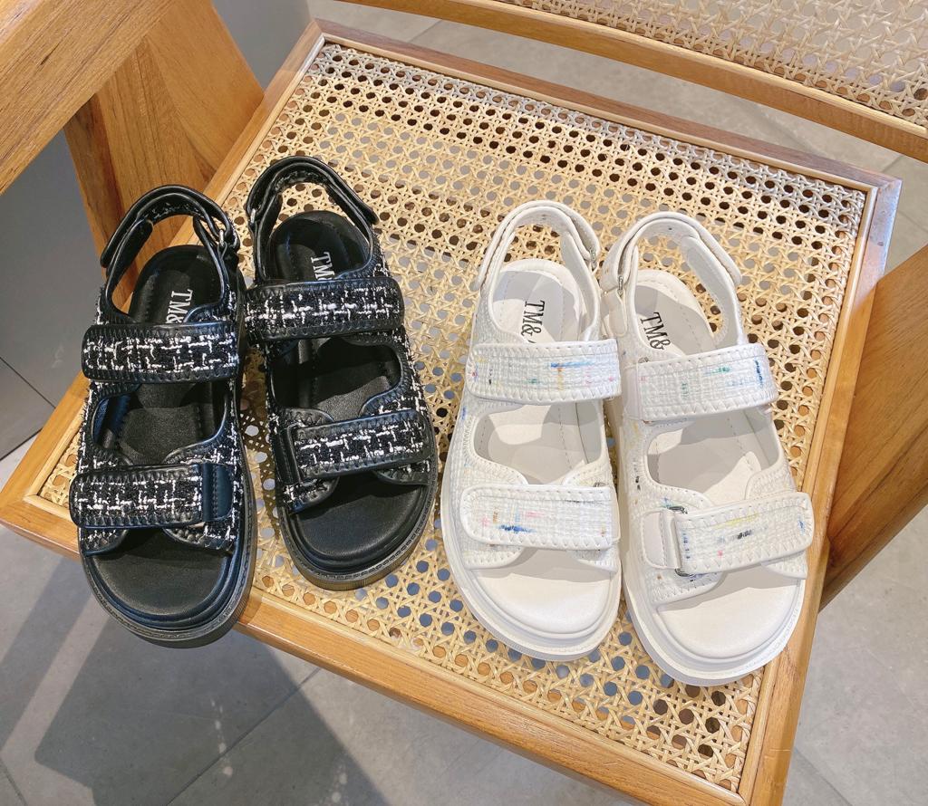 兔美善韩国代购女装 21夏 优雅小香风显瘦厚底魔术贴气质凉鞋 特