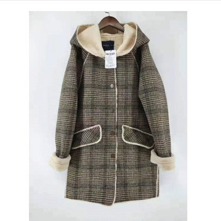 Mjstyle 2019 lady suede thousand bird Plaid one piece hat coat 819130039