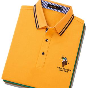 高尔夫球服短袖 夏季 纯棉 保罗POLO衫 t恤翻领大码 半袖 商务休闲男士