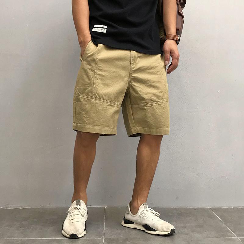 原创日系男装夏季新款纯色宽松直筒工装休闲裤短裤青年潮流五分裤限100000张券