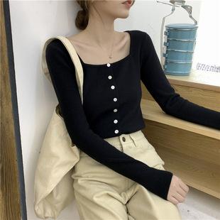 方领针织衫女秋冬长袖修身显瘦毛衣开衫外套打底内搭露锁骨bm上衣