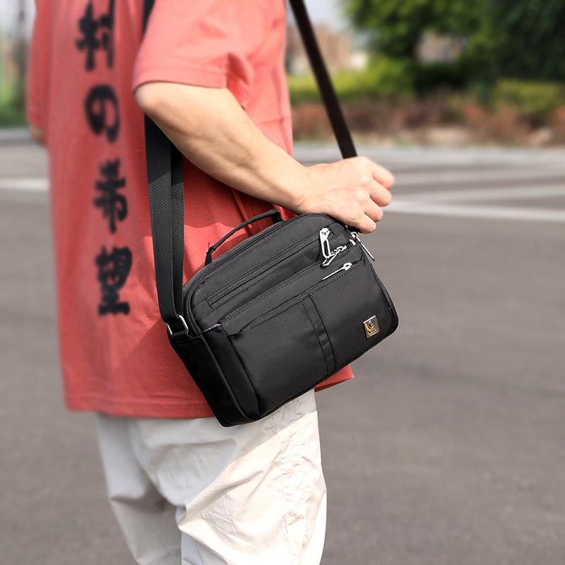 2018 new mens shoulder bag straddle bag leisure business dad middle aged mens waterproof Oxford cloth handbag
