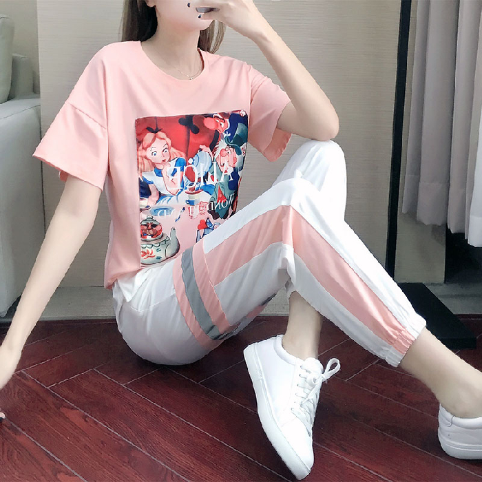 2020 summer suit womens new casual sports Capris printed T-shirt foreign style loose thin two piece set
