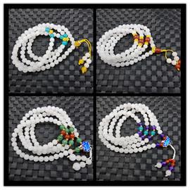天然玉石新疆白玉圆珠手链6毫米金丝玉圆珠手链石英岩玉108颗手串