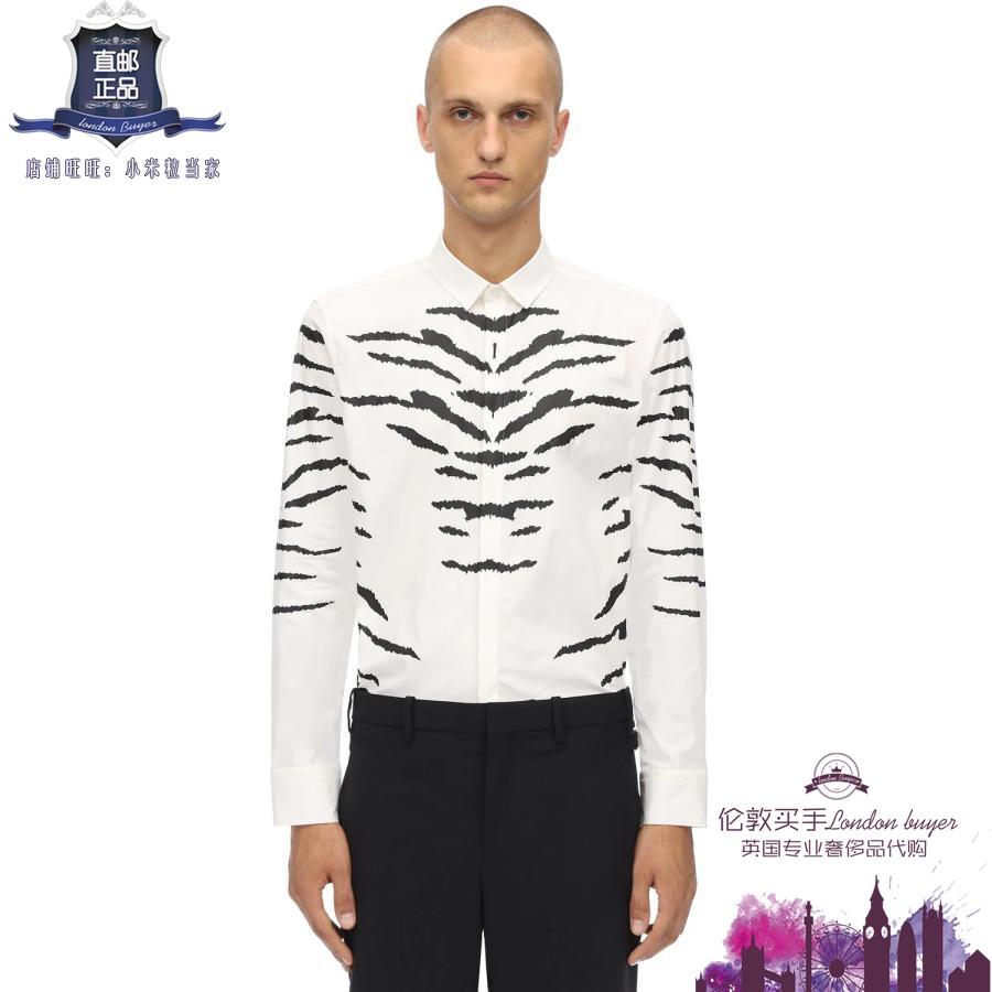 英国代购 男士新款 Neil Barrett 印花弹力棉府绸衬衫 正品直邮