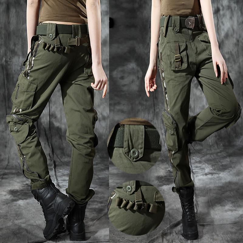 迷彩春秋户外休闲直筒裤女军裤耐磨军绿工装中腰收脚多口袋登山裤