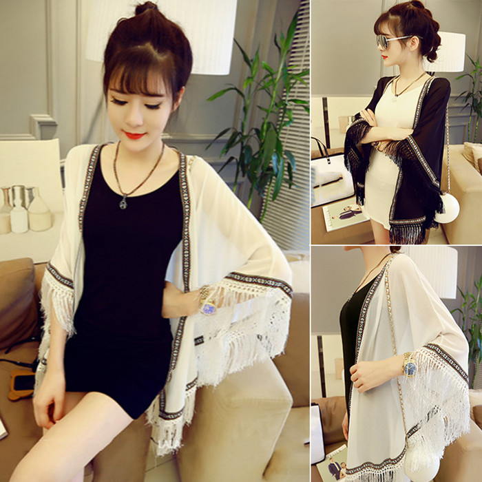 夏季女装批�l韩版新款流苏防晒上衣中长款开衫斗篷宽松披肩雪纺衫