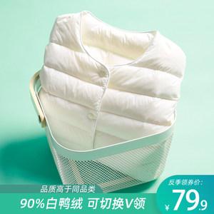 2021年新款轻薄款圆领羽绒服女保暖内胆短款V领外套冬装女士无领