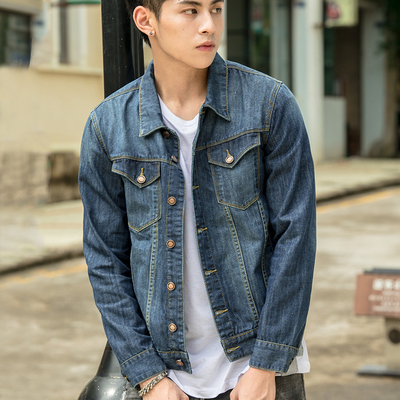 2021 Spring and Autumn New Washed Denim Jacket Men's Korean Style Loose All-match Clothes Japanese Retro Trendy Jacket