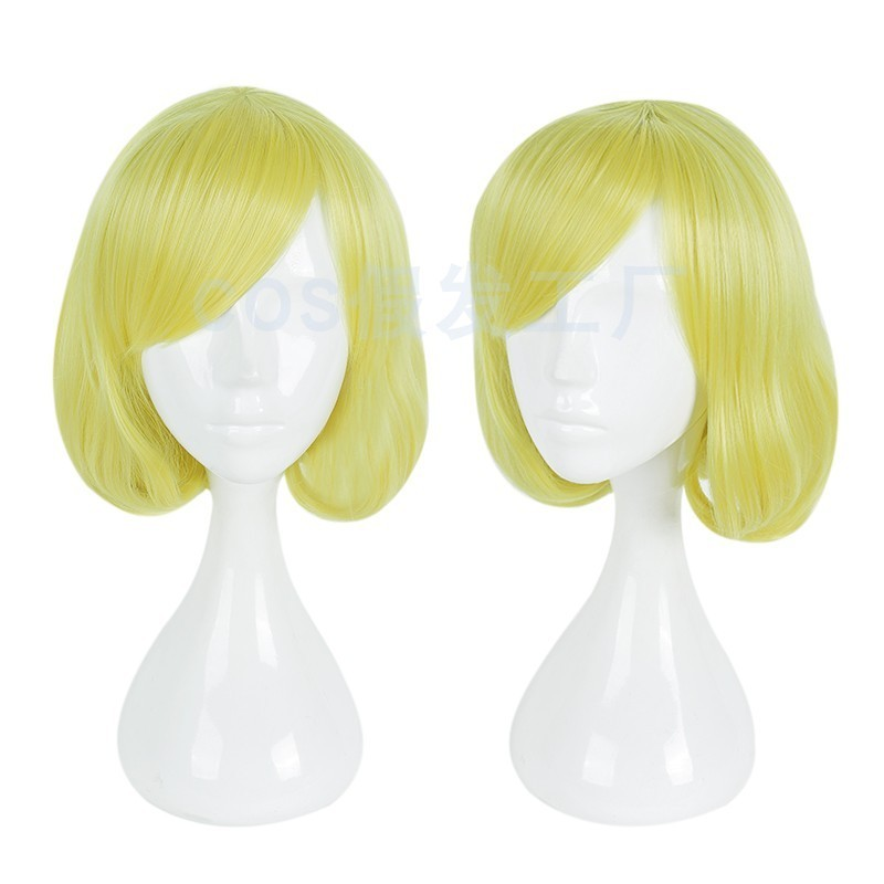 Cos wig factory back street girl standing flower truth pear flower yellow short Cosplay animation prop package