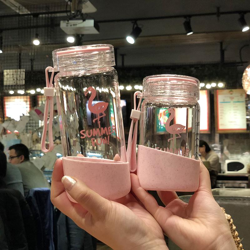 水杯女学生韩国清新可爱玻璃杯便携随手杯子少女心创意潮流火烈鸟