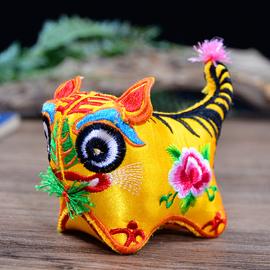 布老虎刺绣摆件迷你满月小老虎布艺中国风民俗工艺品特色小礼物