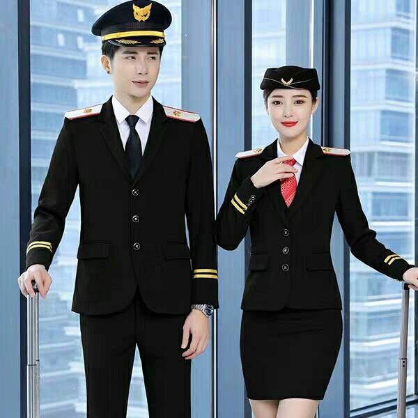 职业套装秋冬季男女款南航机长高铁乘务员军豉演出空姐空少保安服