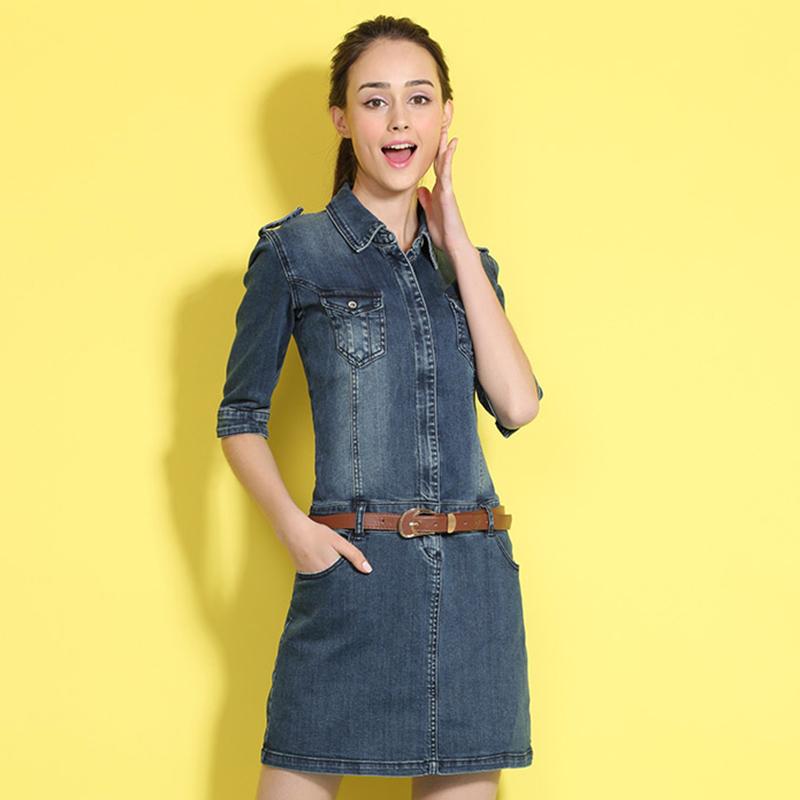 实拍春季新款中长款牛仔连衣裙女 韩版修身显瘦 F007