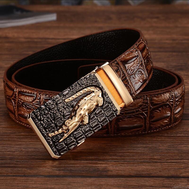 Mens leather belt, automatic buckle, casual middle-aged trouser belt, youth Korean version belt, leather crocodile pattern trouser belt