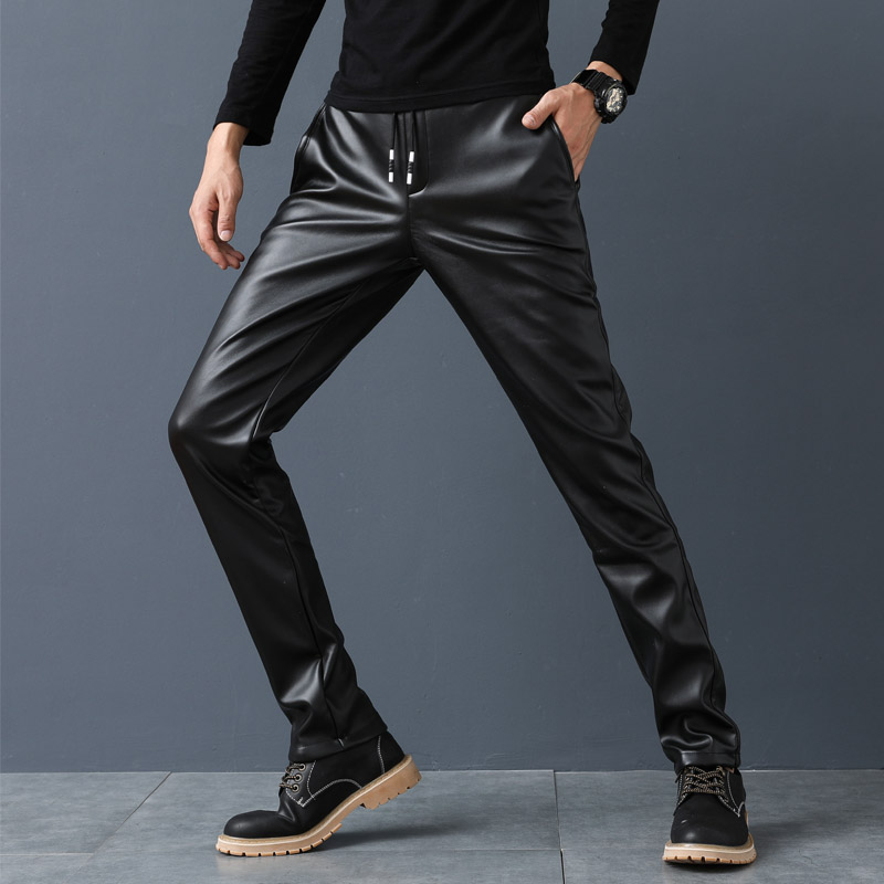 Autumn and winter leather pants mens slim trend small foot riding motorcycle tight elastic waterproof mens leather pants with plush thickening