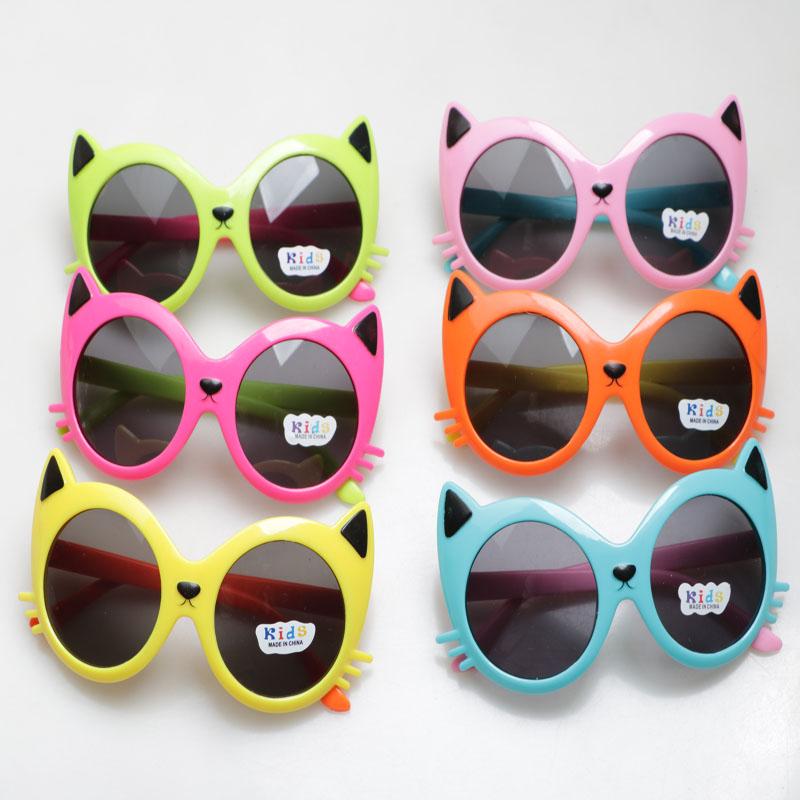 时尚儿童太阳眼镜猫咪圆形小孩眼镜可爱卡通款宝宝墨镜