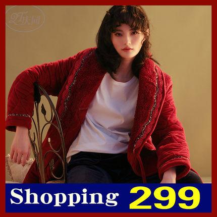 庆同睡袍女秋冬中长款珊瑚绒加厚三层夹棉保暖和服式新款性感睡衣