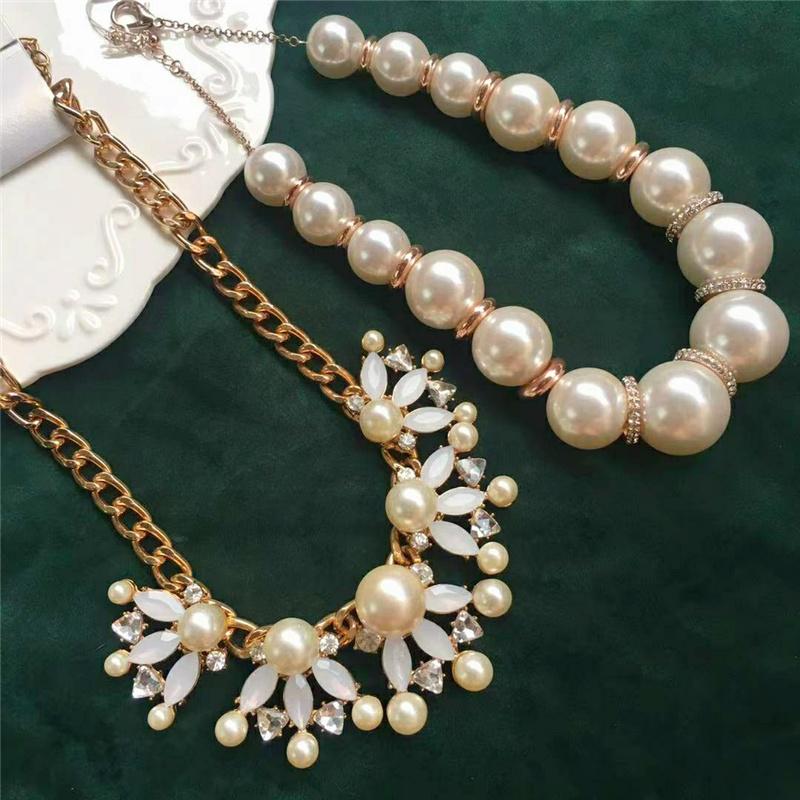 欧美外贸饰品时尚百搭质感仿珍珠镶钻锁骨链蛋白石花朵项链女