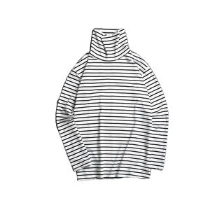 2020春秋季情侶高領條紋T恤堆堆領時尚男寬鬆長袖T恤打底衫潮流女