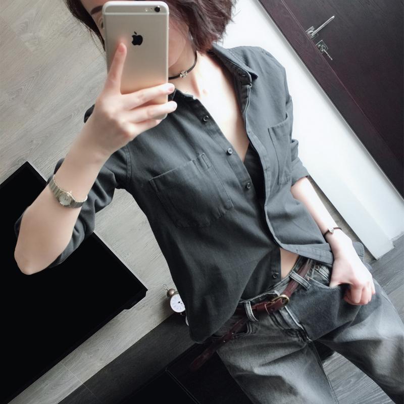 春季 新款欧美烟灰色帅气修身百搭显瘦职业气质休闲牛仔衬衫女
