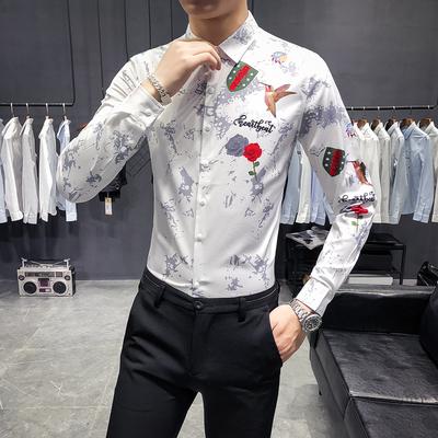 2018秋季新款英伦绅士韩版男士修身印花衬衫麻雀玫瑰2025白色-P55