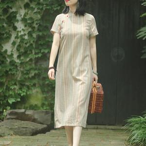 念江南中国风新款旗袍改良版中长连衣裙2021夏显瘦立领竖条纹裙子
