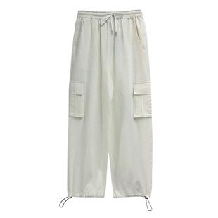 白色工裝褲女寬鬆bf2020新款高腰顯瘦休閒直筒闊腿束腳褲子潮ins