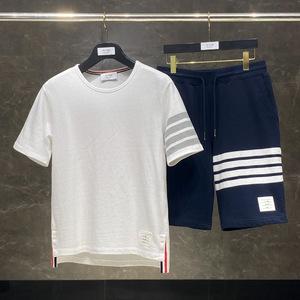 潮牌夏季两件套装tb thom短袖短裤