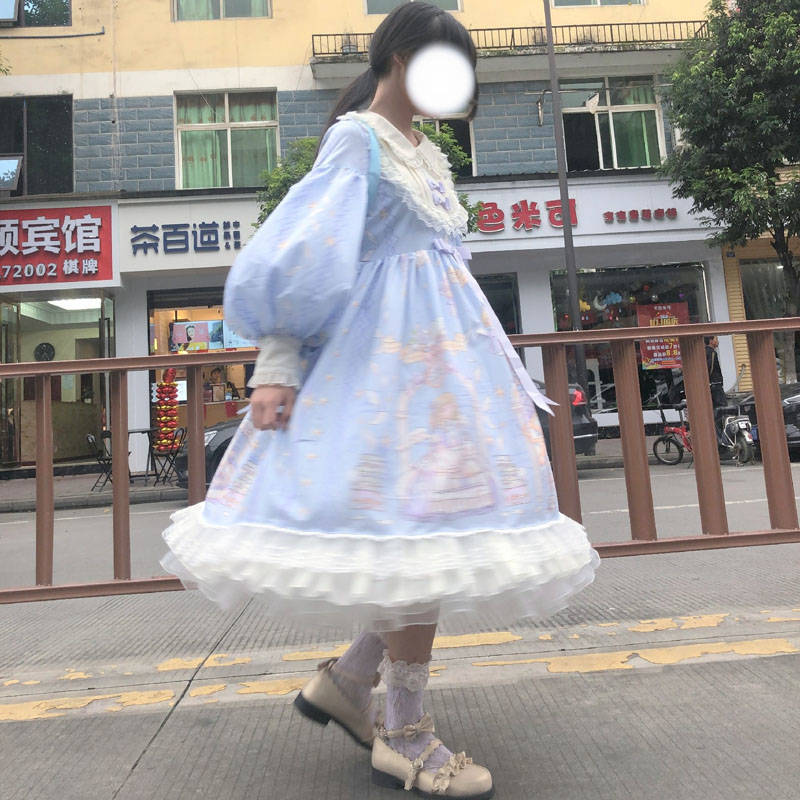 Lolita Dress full set of bow lace and ear Lolita lovely princess dress long sleeve dress