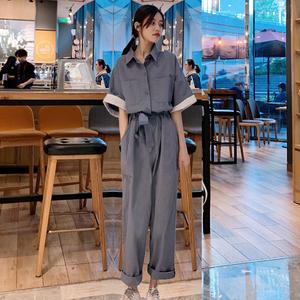 微胖人mm显瘦套装女夏大码女装2020新款夏装港风胖妹妹心机连体裤