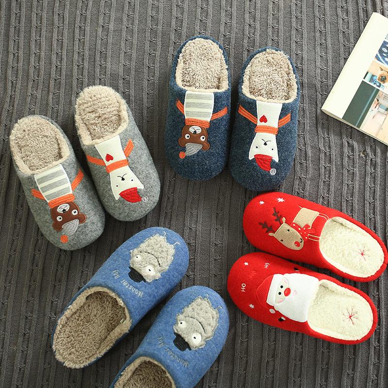 秋冬季可爱圣诞卡通毛毛绒情侣日系棉拖鞋家居室内男女士厚底防滑