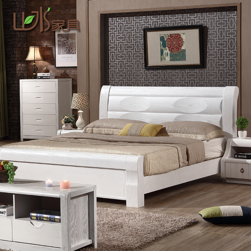 New solid wood bed modern simple white elm double bed 1.8m master bedroom Chinese high box storage bed