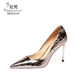 高跟鞋子女细跟2020年春季新款百搭性感枪色女鞋浅口漆皮尖头单鞋