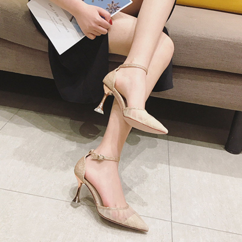 Spring and summer 2020 new net yarn fairies net red high heels thin heels pointed shoes single shoes wedding shoes bride shoes
